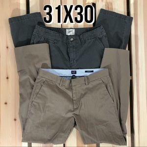 2 Pairs Khakis 31x30 Career Casual Tan Taupe
